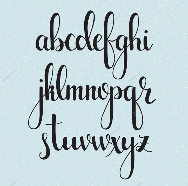 typography cursive lettering font