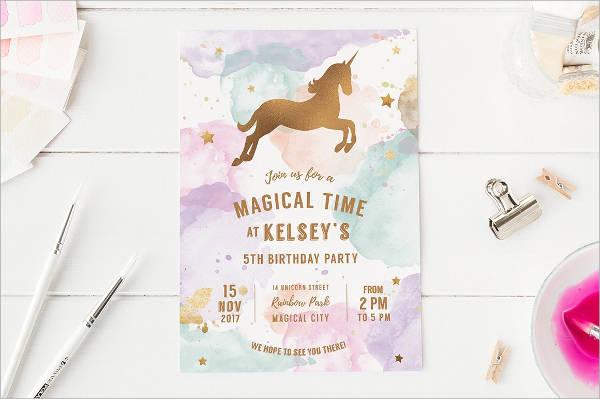 unicorn birthday party invitation card