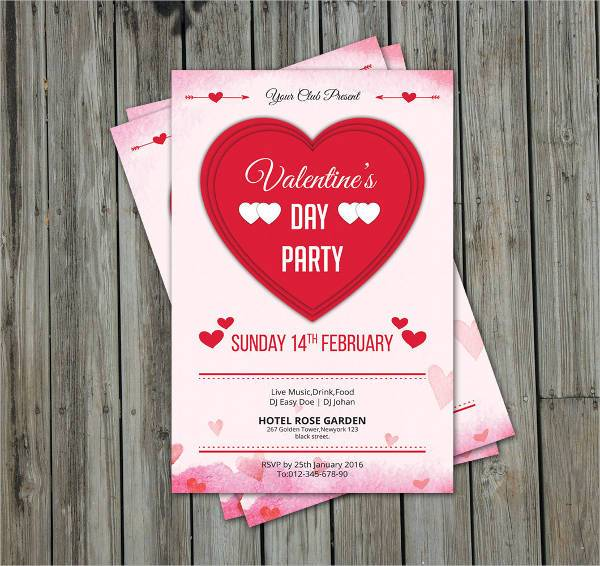 Valentines Day Party Invitation Flyer Template