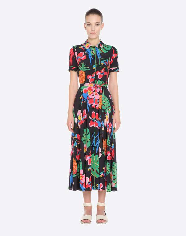 valentino belted floral dress