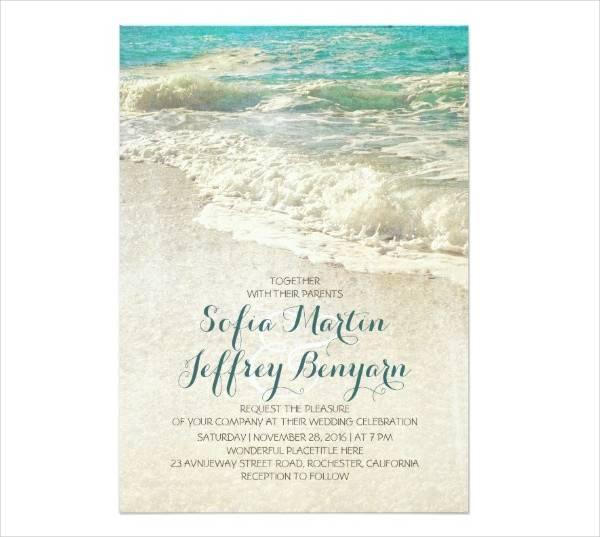 Vintage Beach Wedding Invitation