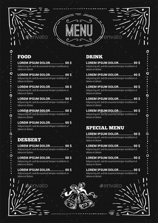 Vintage Black Christmas Menu