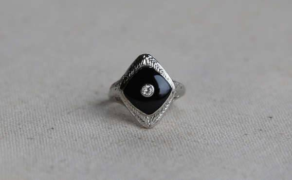 vintage black engagement ring