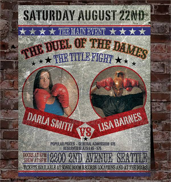 Vintage Boxing Poster PSD
