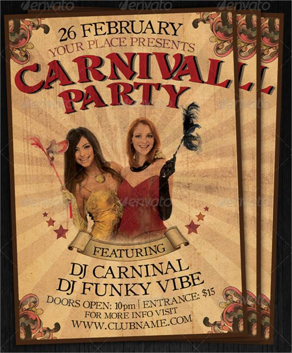 Vintage Carnival Club Party Poster