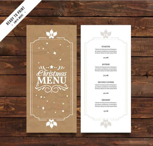 Vintage Christmas Party Menu