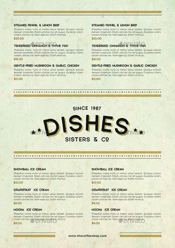 Vintage Classic Food Menu