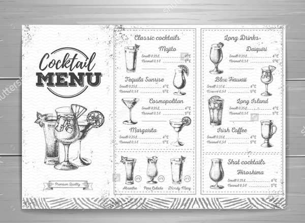 Vintage Cocktail Club Menu