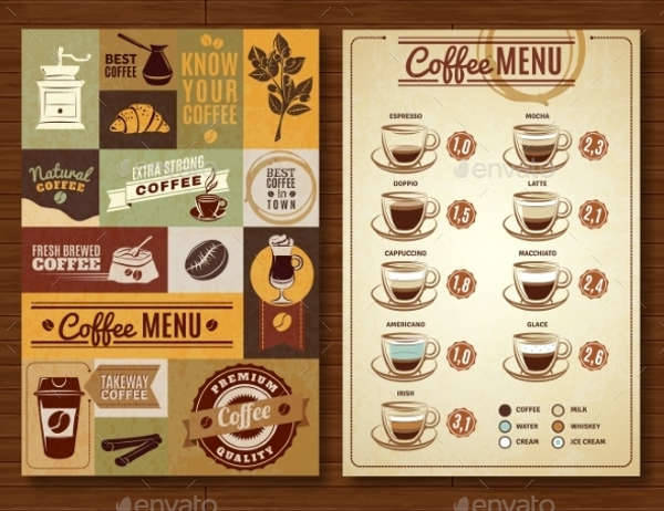Vintage Coffee Menu Set