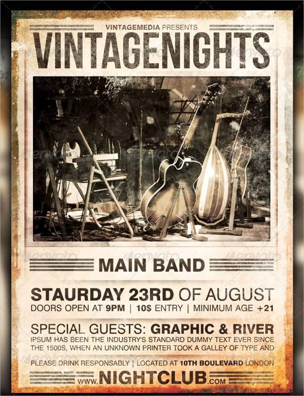 Vintage Concert Flyer Poster