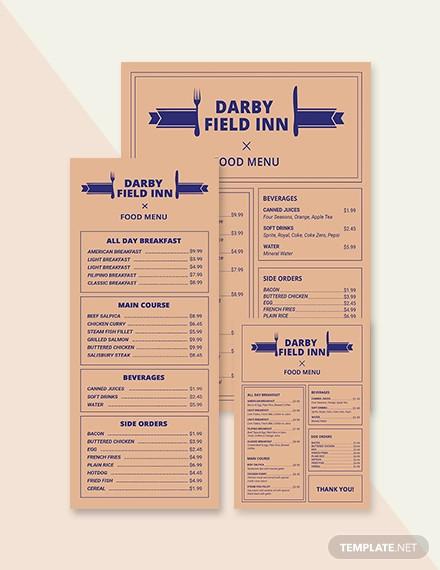 vintage hotel menu template