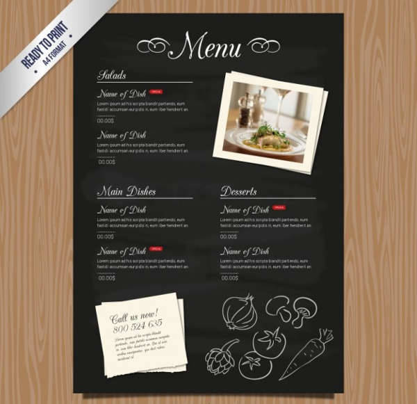 Vintage Restaurant Menu Card