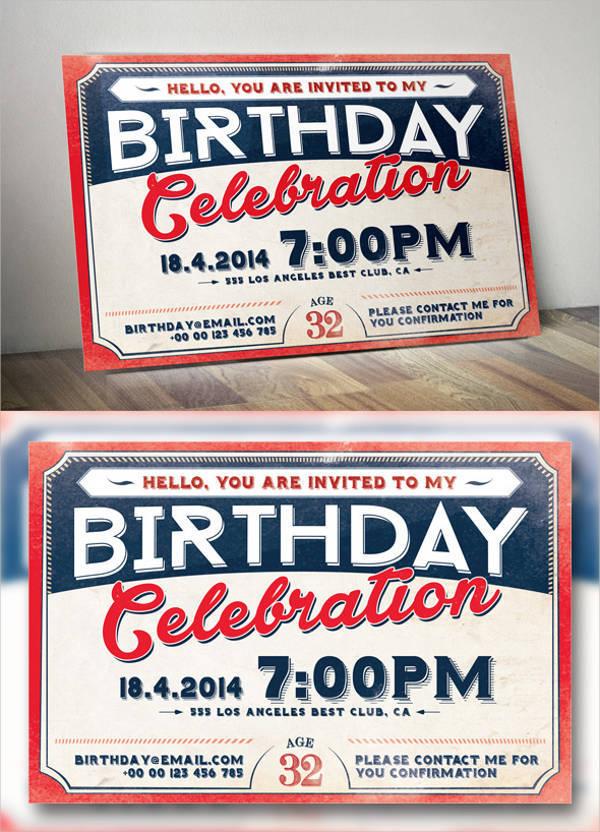 Vintage Retro Birthday Invitation Card