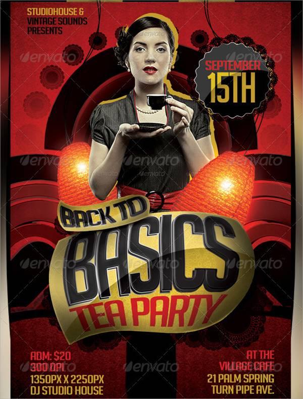 Vintage Retro Tea Party Flyer