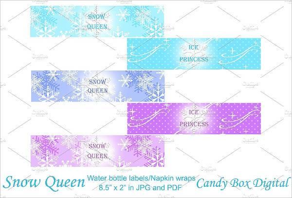 vintage snow queen water bottle label