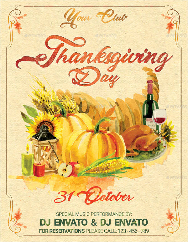 Vintage Thanksgiving Party Flyer