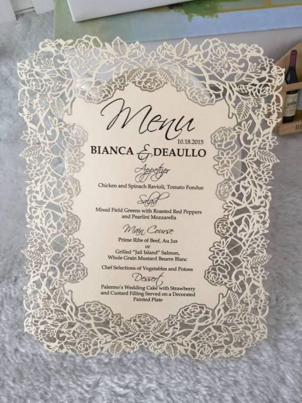 Vintage Wedding Event Menu