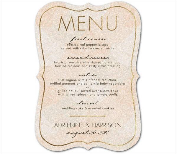 vintage wedding food menu