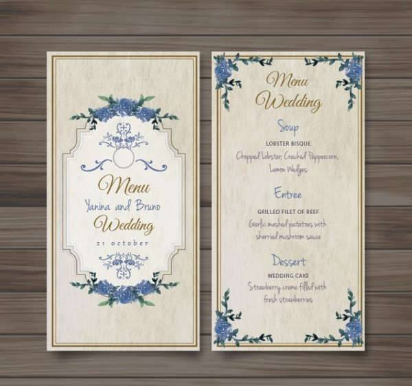Vintage Wedding Food Menu