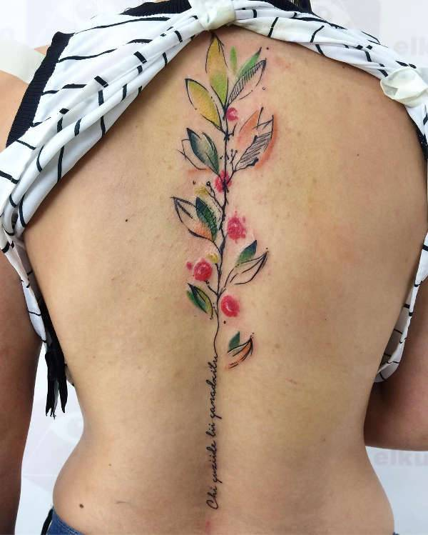watercolor spine tattoo design