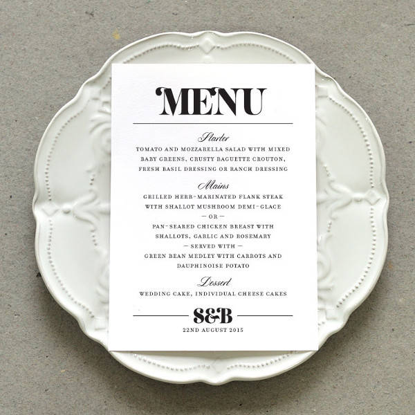 wedding dinner party menu