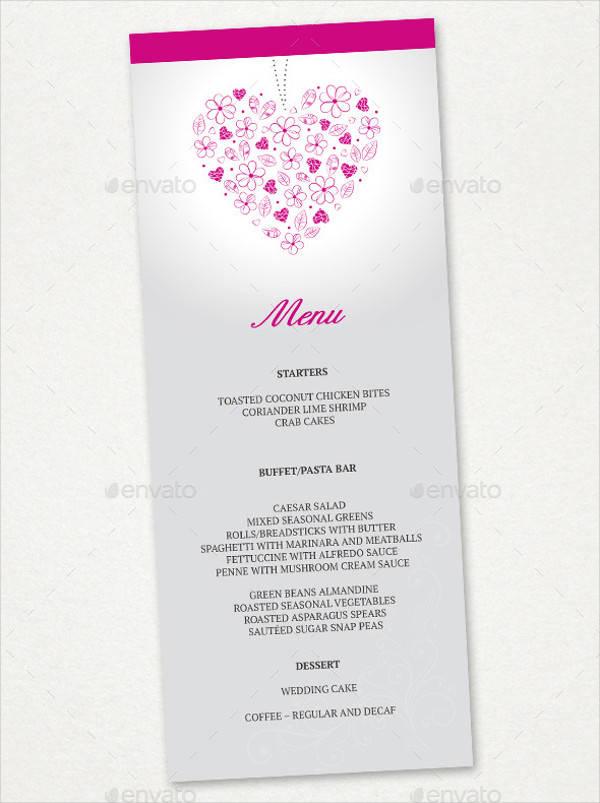 wedding menu card psd