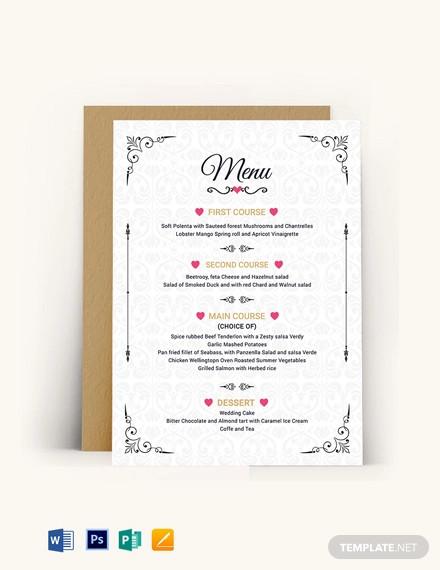 wedding menu invitation template