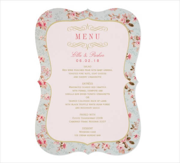 wedding party menu card