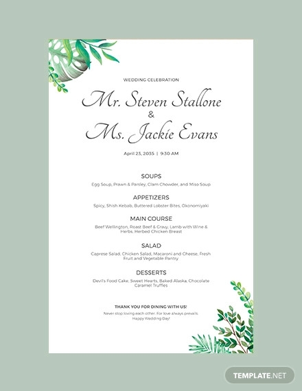 wedding poster menu template