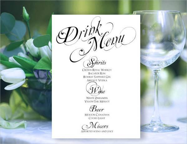 wedding reception drink menu