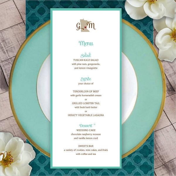 wedding reception menu card1