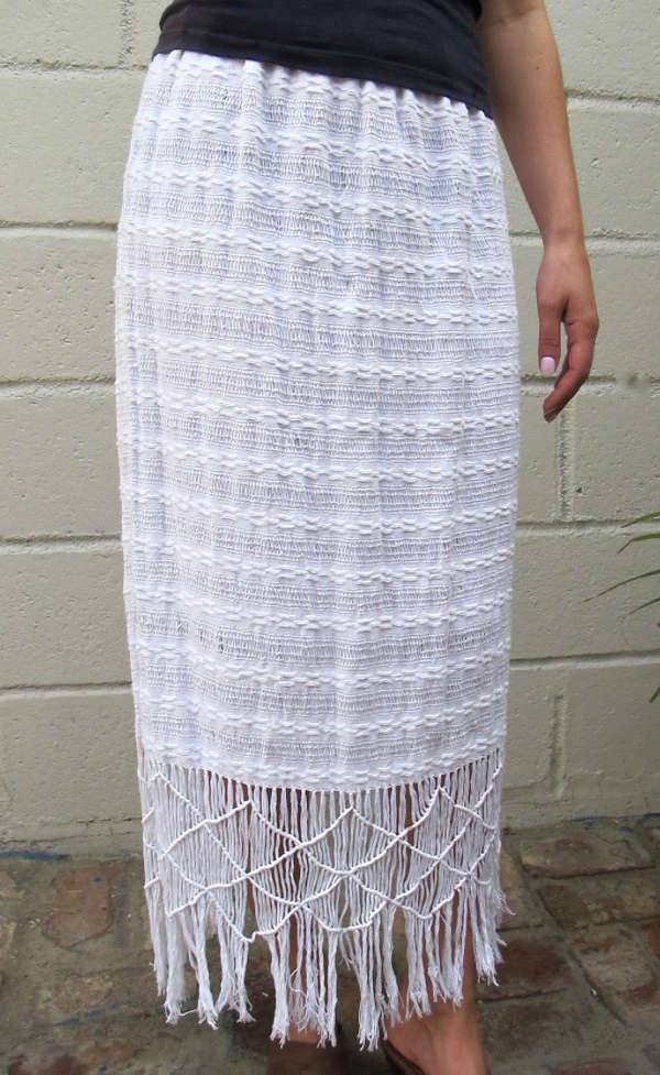 White Fringe Skirt Design