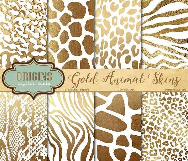 White and Gold Animal Skin Pattern