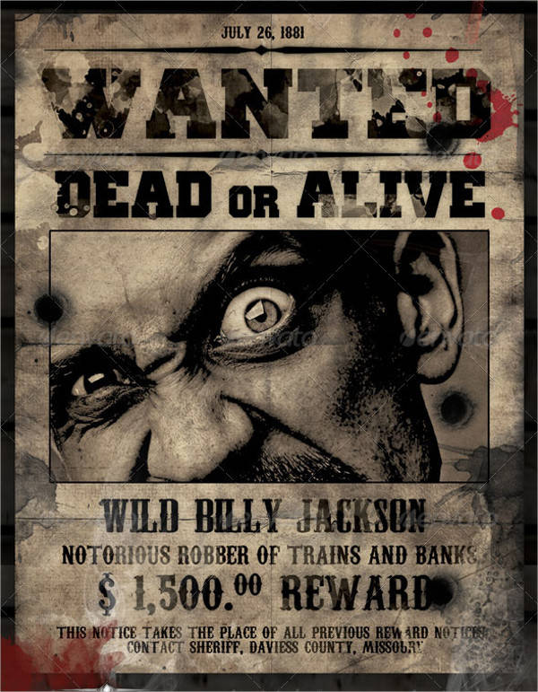 wild west most wanted poster