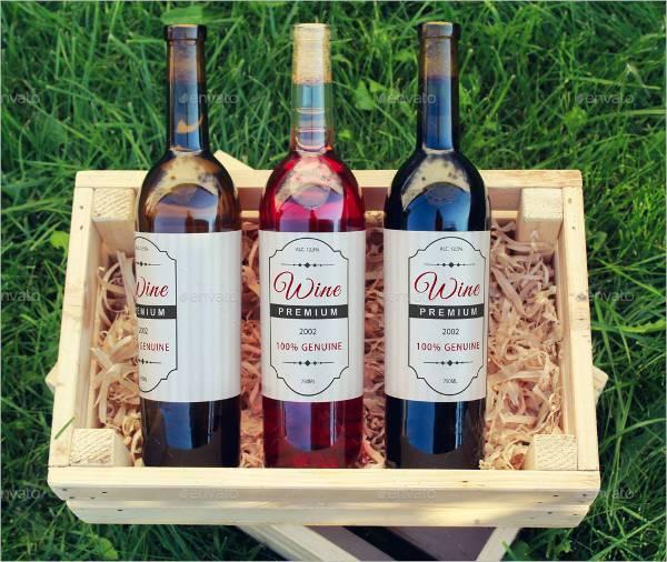 wine bottle label mock up pack