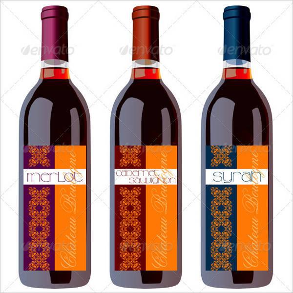 wine bottles set with vintage label