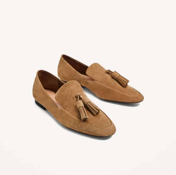 zara split leather loafers