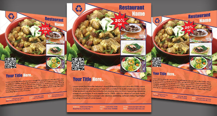 flyers restaurant psd