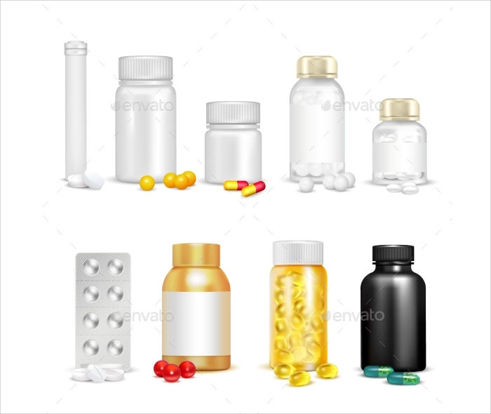 3d vitamins and packaging set