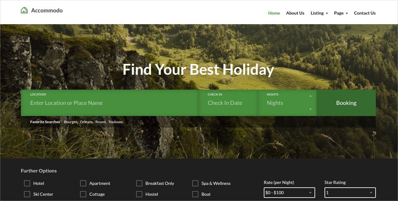 accommodation travel wordpress theme design
