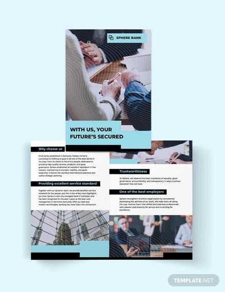 banking service bi fold brochure template