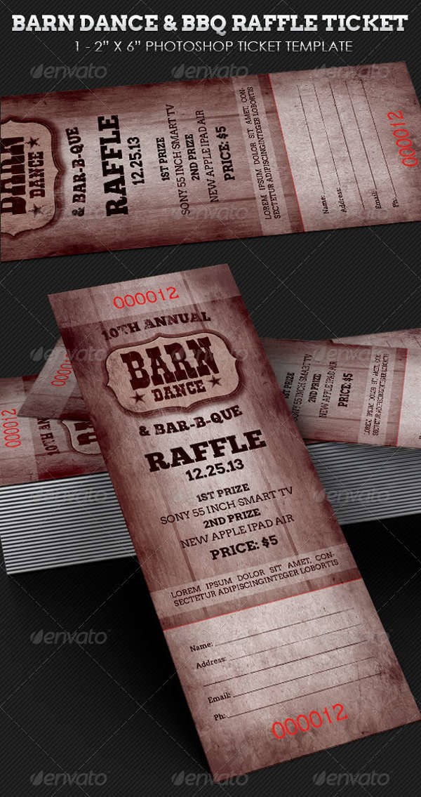 Barn Dance BBQ Raffle Ticket
