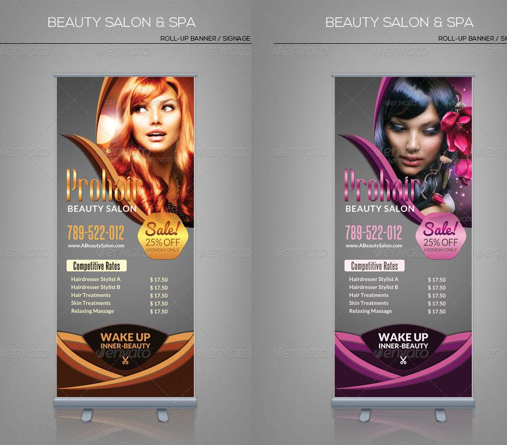 beauty salon spa roll up banner