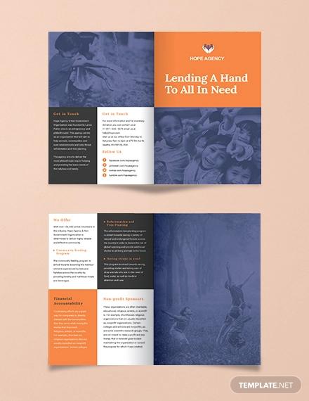 bi fold fundraising brochure template