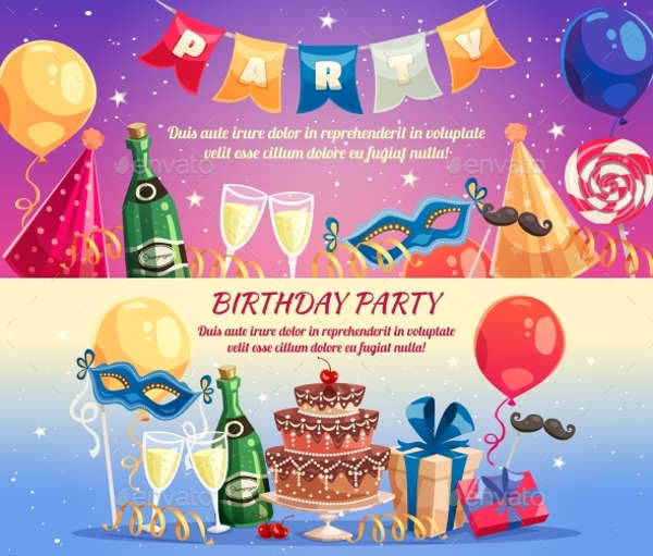 Birthday Party Horizontal Banner