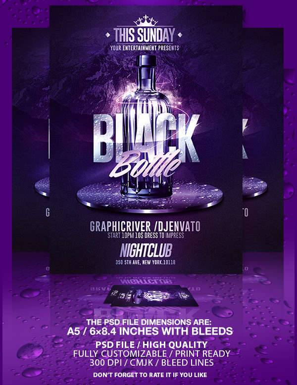 Black Bottles Party Flyer