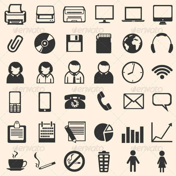 Black Office Icons