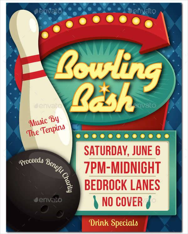 bowling event flyer poster