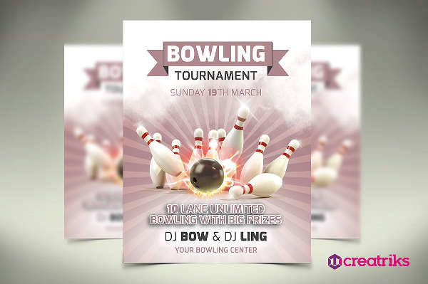 bowling game party flyer