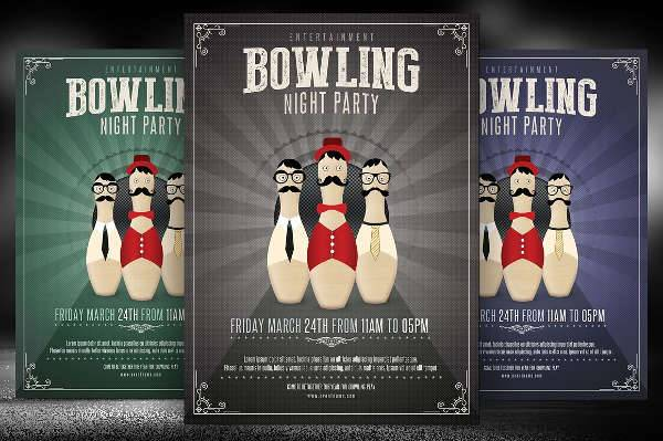 bowling night flyer design